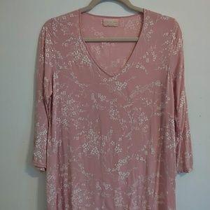 Blush floral 3/4 Sleeve Shirt